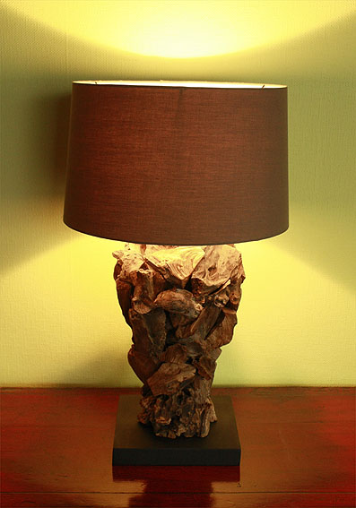 asienlifestyle tischleuchte wurzelholz tischlampe nachttisch lampe leuchte neu ebay. Black Bedroom Furniture Sets. Home Design Ideas