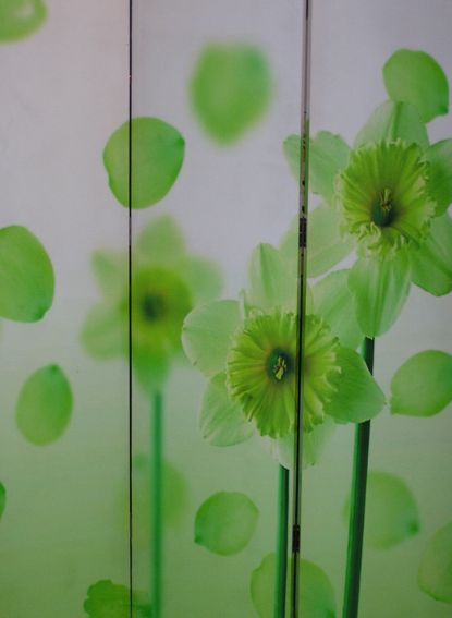 paravent s paration de pi ce feng shui avec fleurs neuf wohn ambience ebay. Black Bedroom Furniture Sets. Home Design Ideas