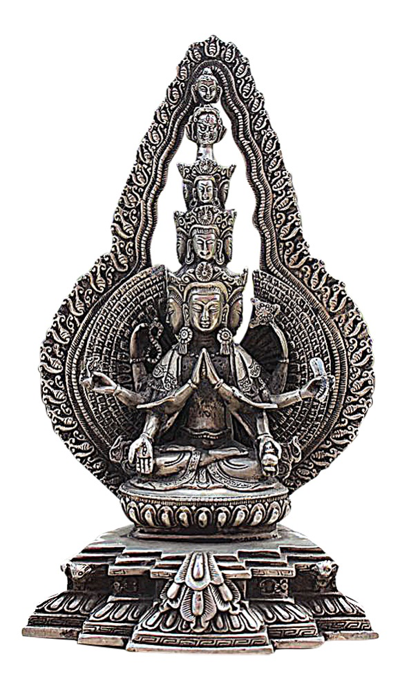 chenrezig chenrezi buddha statue figur aus bronze tibet. Black Bedroom Furniture Sets. Home Design Ideas