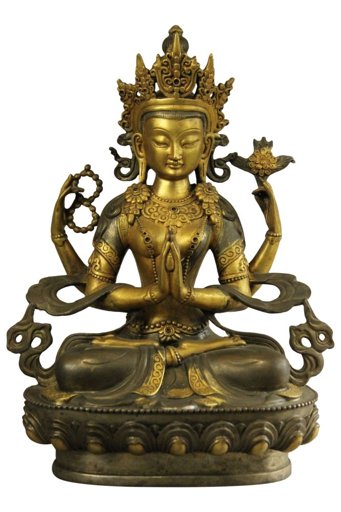 chenrezi buddha statue feuervergoldet bronze skulptur. Black Bedroom Furniture Sets. Home Design Ideas