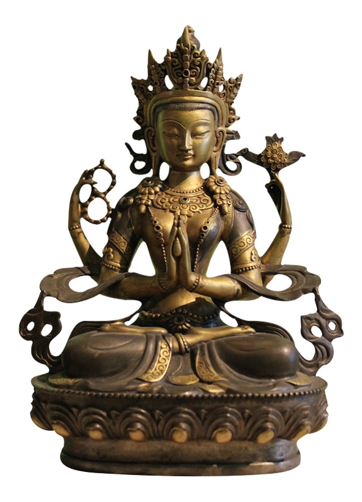 vergoldete chenrezig buddha statue figur tibet hochwertige. Black Bedroom Furniture Sets. Home Design Ideas