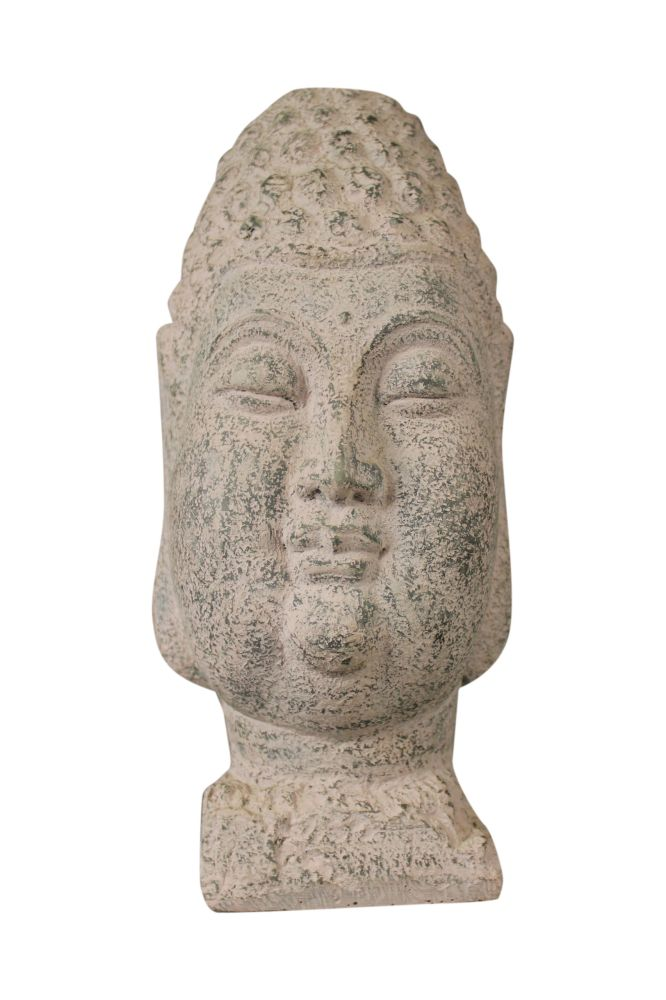 buddha kopf skulptur poly stein figur statue sockel tibet. Black Bedroom Furniture Sets. Home Design Ideas