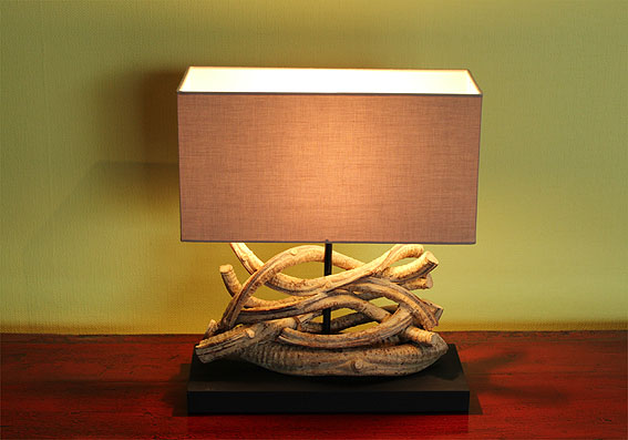 asienlifestyle tischleuchte mangroven holz tischlampe nachttisch lampe leuchte ebay. Black Bedroom Furniture Sets. Home Design Ideas